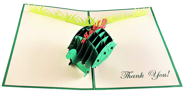 Cute Turtle Thank You 3D Pop Up Greeting Card