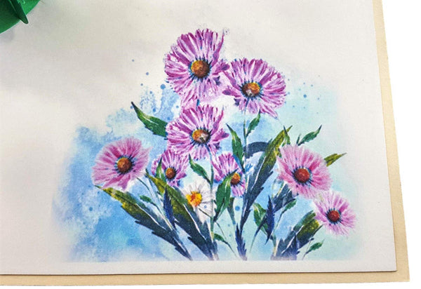 Purple Daisies 3D Pop Up Greeting Card 5