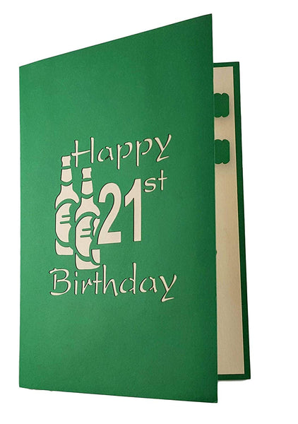 Happy 21st Birthday Beer Version 3D Pop Up Card 5