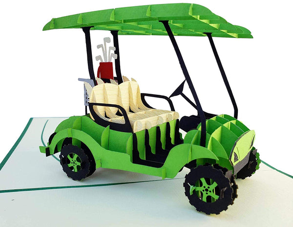 Green Golf Cart 3D Pop Up Greeting Card 2