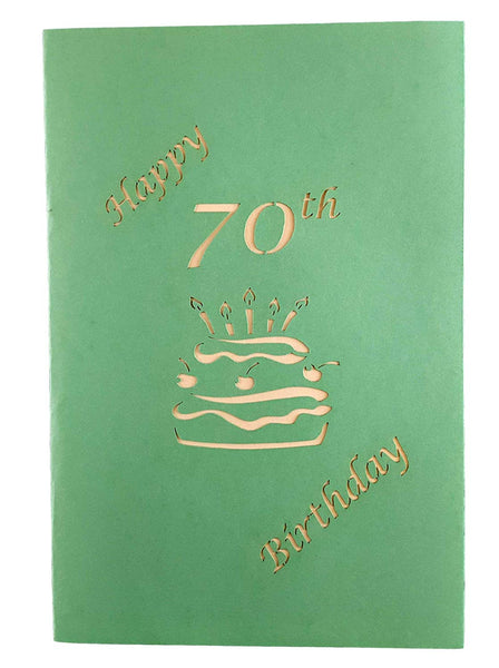 Happy 70th Birthday Cake 3D Pop Up Card 7