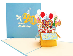 Happy 90th Birthday Blue Party Box 3D Pop Up Greeting Card