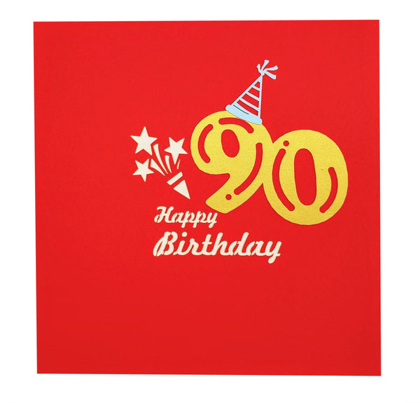 Happy 90th Birthday Red Party Box 3D Pop Up Greeting Card
