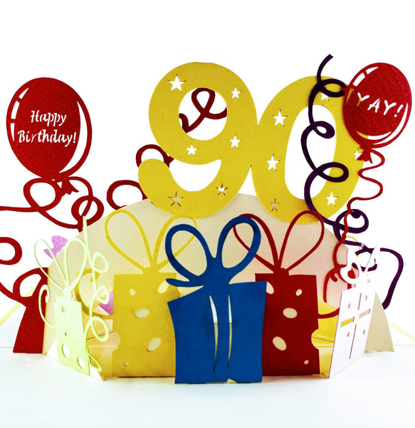 Happy 90th Birthday With Lots of Presents 3D Pop Up Greeting Card 01
