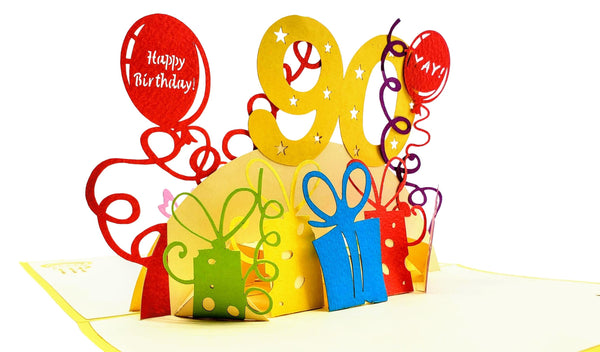 Happy 90th Birthday With Lots of Presents 3D Pop Up Greeting Card 1