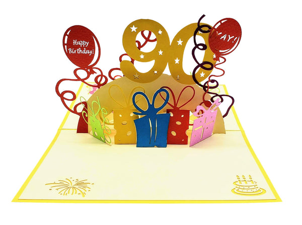 Happy 90th Birthday With Lots of Presents 3D Pop Up Greeting Card 3