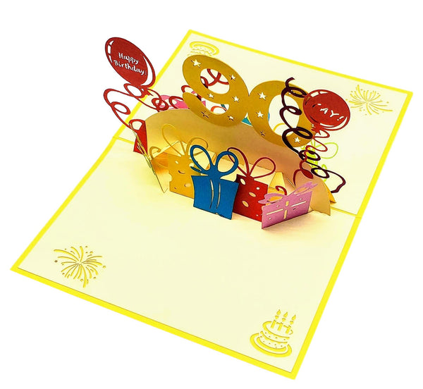 Happy 90th Birthday With Lots of Presents 3D Pop Up Greeting Card 4