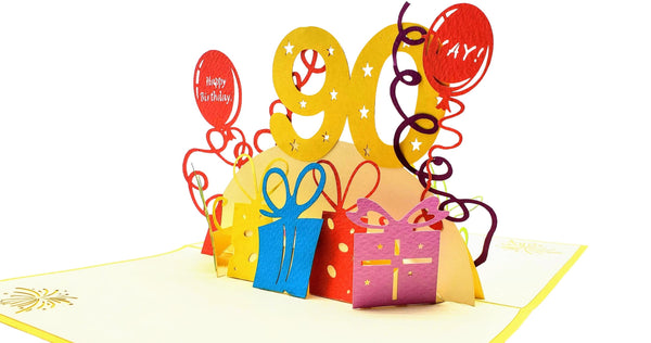 Happy 90th Birthday With Lots of Presents 3D Pop Up Greeting Card 5