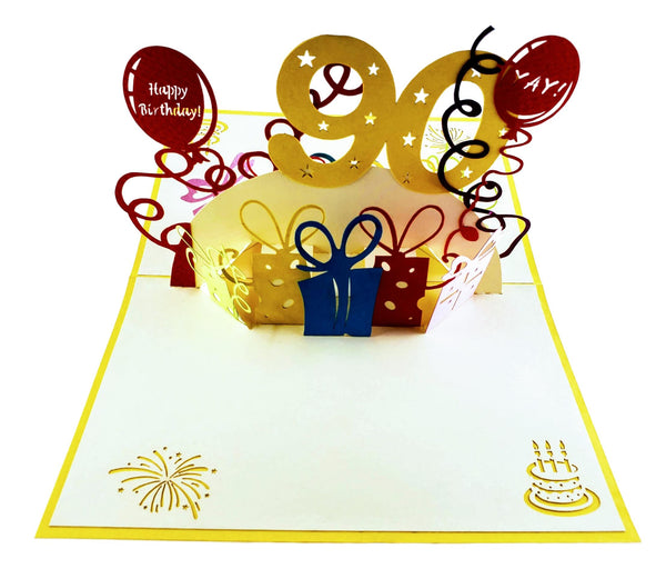Happy 90th Birthday With Lots of Presents 3D Pop Up Greeting Card 6