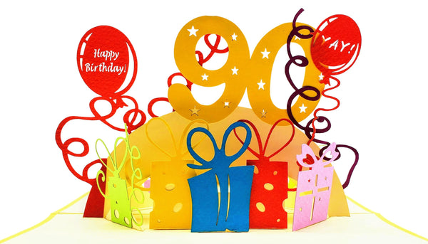 Happy 90th Birthday With Lots of Presents 3D Pop Up Greeting Card 7A