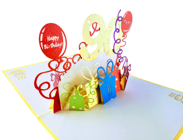 Happy 90th Birthday With Lots of Presents 3D Pop Up Greeting Card 7