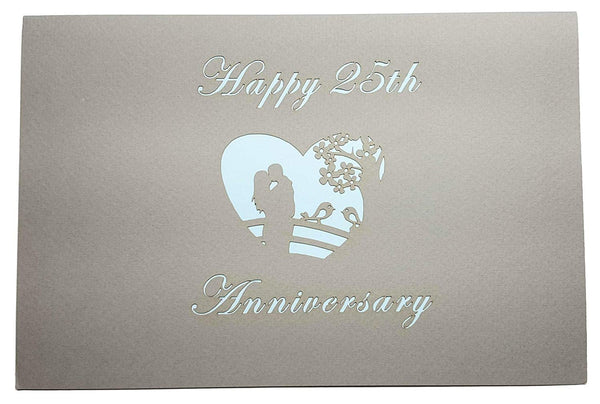 Happy 25th Anniversary 3D Pop Up Greeting Card 7