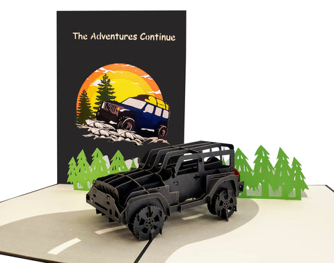 Adventure Awaits Jeep 3D Pop Up Greeting Card