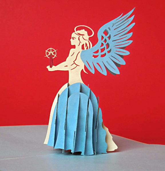 Angel (Blue) 3D Pop Up Greeting Card 1 front