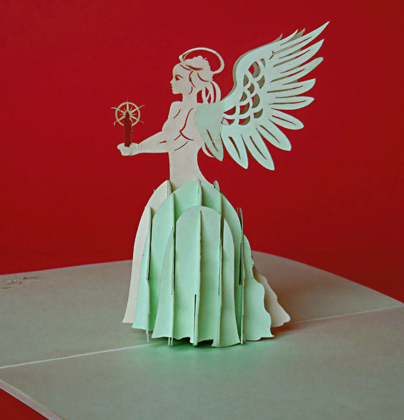 Angel (Green) 3D Pop Up Greeting Card 1
