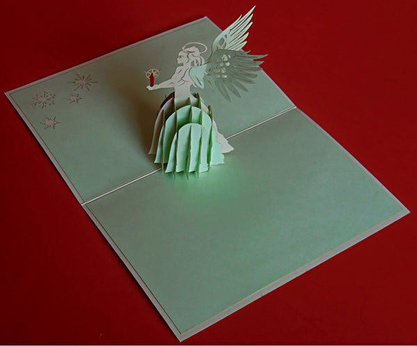 Angel (Green) 3D Pop Up Greeting Card 2