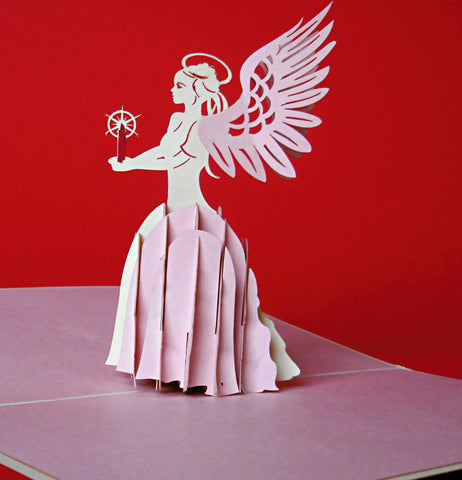 Angel (Pink) 3D Pop Up Greeting Card 1 front