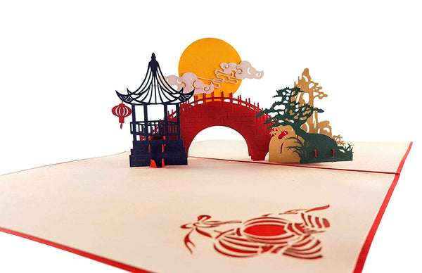 Asian Pavilion Scenery 3D Pop Up Greeting Card 4