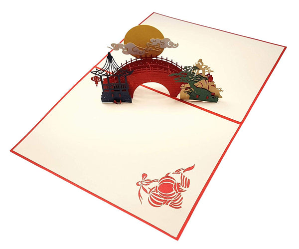 Asian Pavilion Scenery 3D Pop Up Greeting Card 6