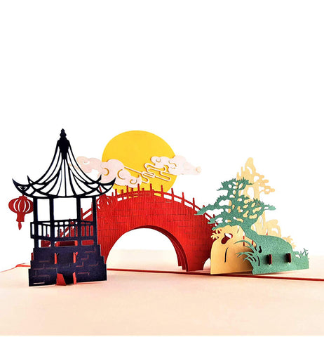 Asian Pavilion Scenery 3D Pop Up Greeting Card 1 front