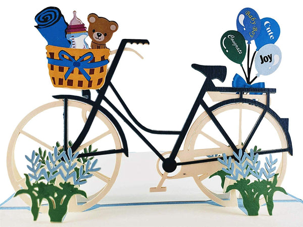 Baby Boy Bike Shower 3D Pop up Greeting Card 1