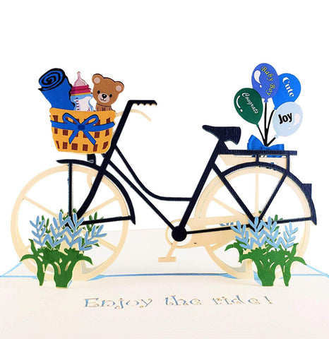 Baby Boy Bike Shower 3D Pop up Greeting Card 1 front