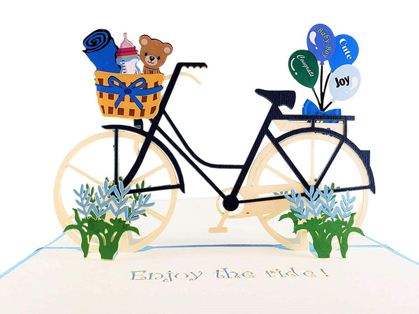 Baby Boy Bike Shower 3D Pop up Greeting Card 2