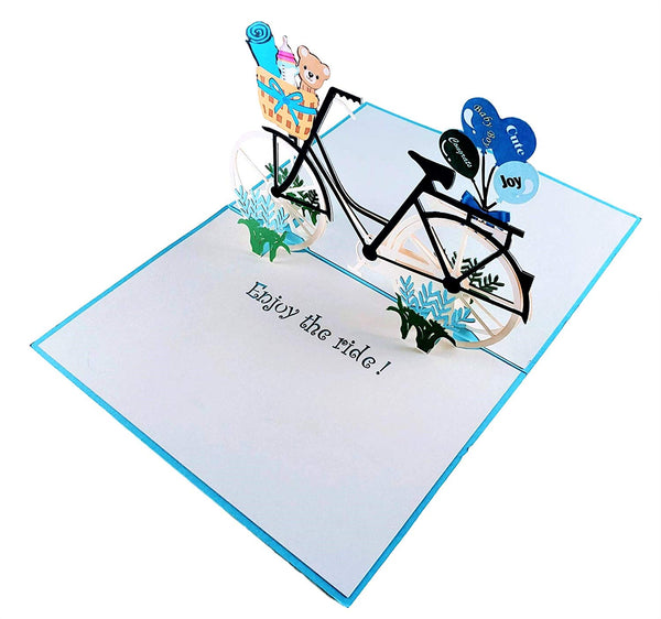Baby Boy Bike Shower 3D Pop up Greeting Card 3