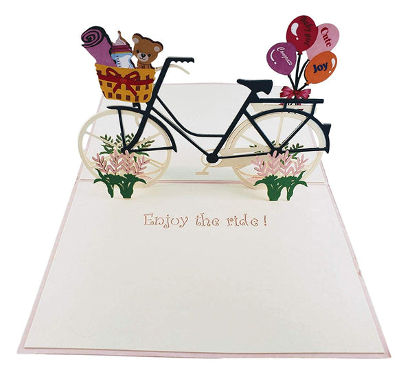 Baby Boy Bike Shower 3D Pop up Greeting Card 4