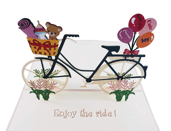 Baby Boy Bike Shower 3D Pop up Greeting Card 6