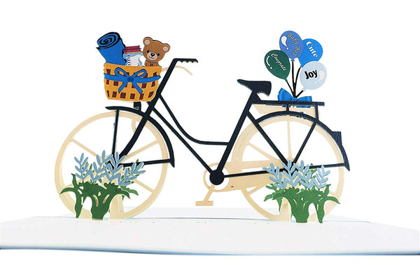 Baby Boy Bike Shower 3D Pop up Greeting Card 7