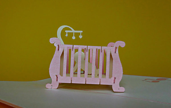 Baby Girl Crib 3D Pop Up Greeting Card 2