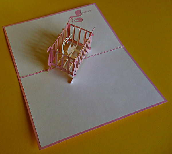 Baby Girl Crib 3D Pop Up Greeting Card 3