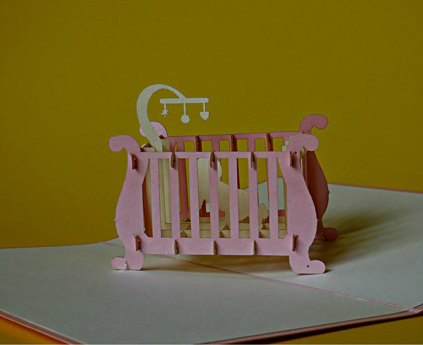 Baby Girl Crib 3D Pop Up Greeting Card 4