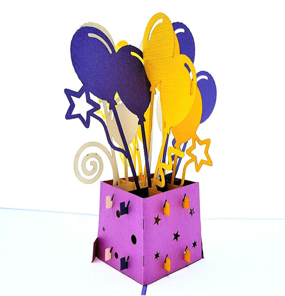 Balloon Bouquet 3D Pop Up Greeting Card 1 front