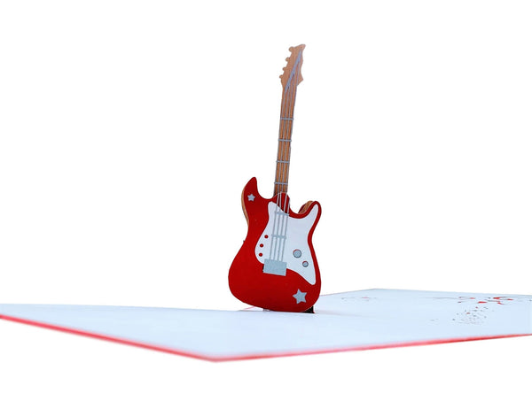 Bass Guitar Pop Up Greeting Card - Friendship, Happy Birthday, Music Lovers, Awesome, Thank You, Rock N Roll, Congrats, Celebration, Unique