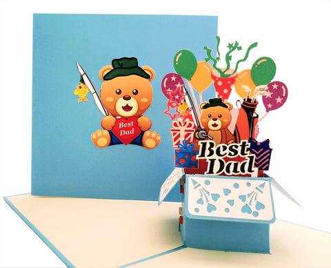 Best Dad Gift Box 3D Pop Up Greeting Card