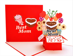 Best Mom Gift Box 3D Pop Up Greeting Card
