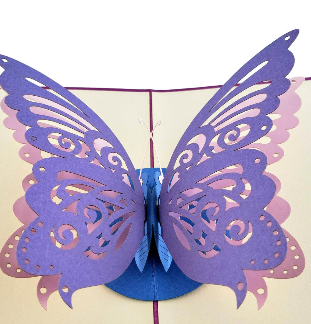 Bi-Color Butterfly 3D Pop Up Greeting Card 1 front