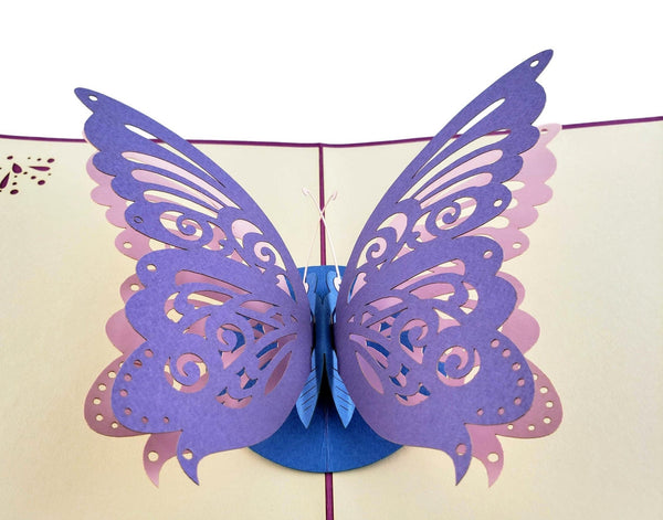 Bi-Color Butterfly 3D Pop Up Greeting Card 2