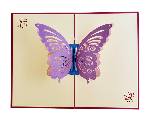 Bi-Color Butterfly 3D Pop Up Greeting Card 3