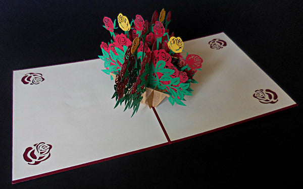Big Rose Bouquet 3D Pop Up Greeting Card 2