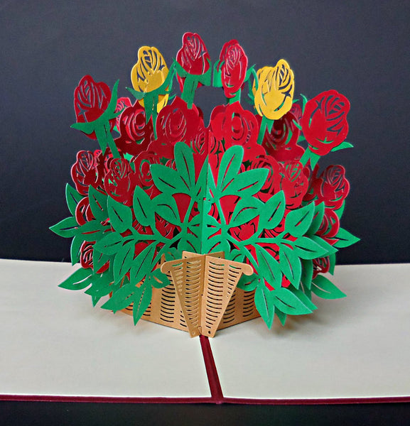 Big Rose Bouquet 3D Pop Up Greeting Card 1