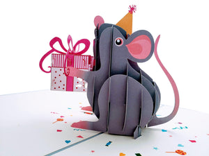 Cute Happy Mouse Birthday Pop Up Greeting Card - Awesome, Best Wishes, Congratulations, Celebration, Cumpleaños, Cool, Kid, Adult, Congrats