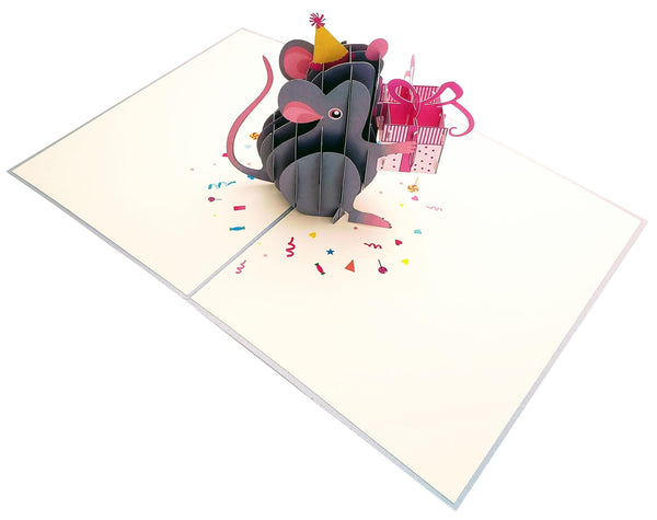 Cute Happy Mouse Birthday 3D Pop Up Greeting Card