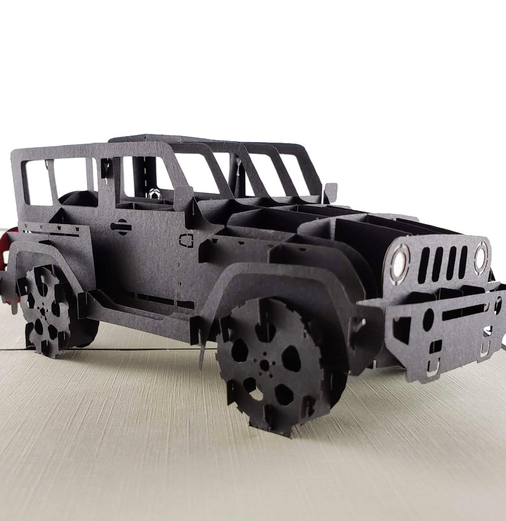 Black Jeep 3D Pop Up Greeting Card 01 front