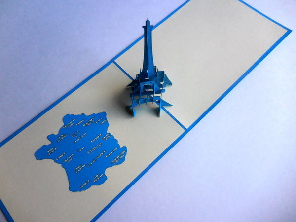 Eiffel (Blue) 3D Pop Up Greeting Card 2
