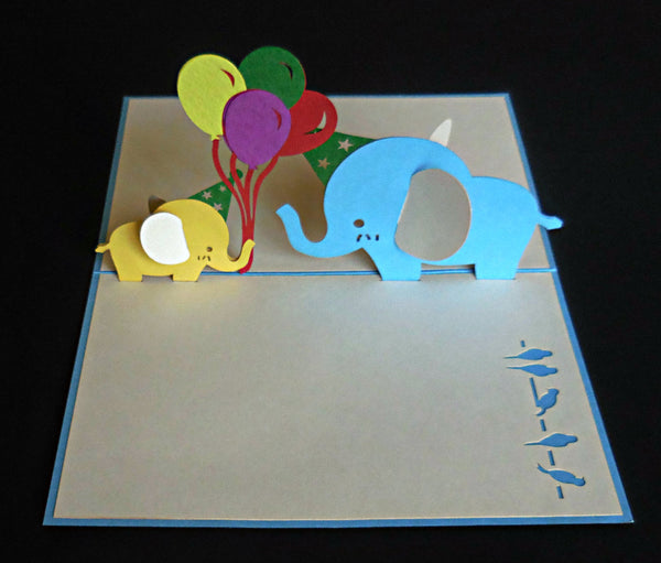 Blue Birthday Elephants 3D Pop Up Greeting Card 2