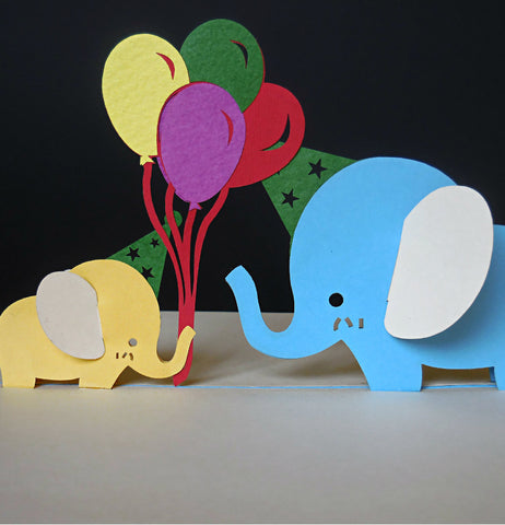 Blue Birthday Elephants 3D Pop Up Greeting Card 1