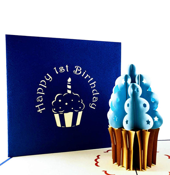 Blue Cupcake 1st Birthday 3D Pop Up Greeting Card 1 front
